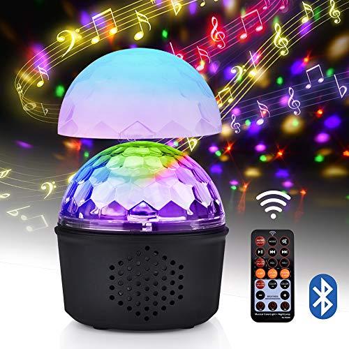 Disco Licht Led, Discokugel Led Party Lampe 9 Farben 15W Bühnenlicht mit Drahtlos Bluetooth-Lautsprecher und Fernbedienung, USB LED Nachtlicht, Partylicht für Kinder, Weihnachten, Partei (Upgrade) -