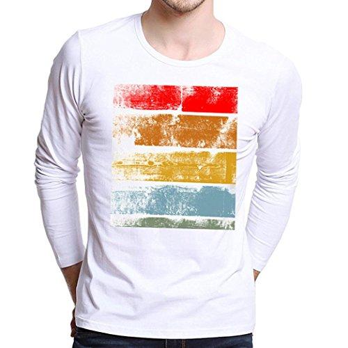 HOT ! Männer Hemden VENMO Männer Plus Size Printing Tees Shirt Langarm T-Shirt Bluse (S, White)