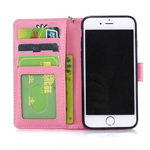 iPhone 7 Plus Hülle Ledertasche [mit Frei Hartglas Displayschutzfolie], KKEIKO® Schutzhülle PU Leder Tasche Hülle Case für Apple iPhone 7 Plus, Wickelfalz Handyhülle mit Bändselloch Standfunktion Kart Pink #8