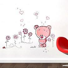 Pegatina de pared adhesivo decorativo oso con flores color rosa