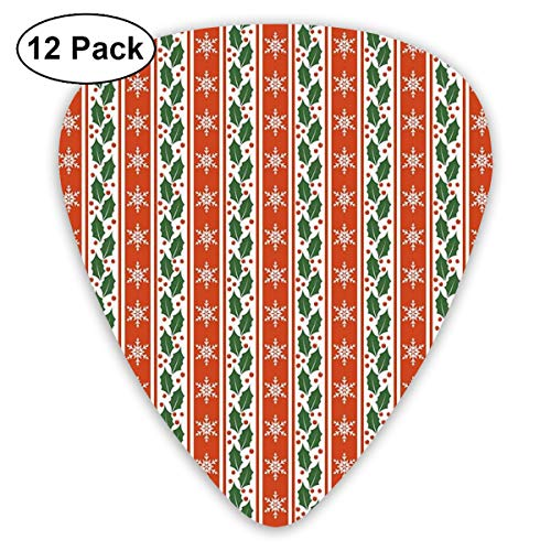 Guitar Picks - Abstract Art Colorful Designs,Holly Berry Leaves Snowflakes On Vertical Banners Christmas Year,Unique Guitar Gift,For Bass Electric & Acoustic Guitars-12 Pack Holly Berry Designs
