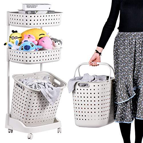 Wäschesortierer Abnehmbar mit Rädern 3-Tier-Korbständer mit 6 seitlichen Haken für Küchen-Badezimmer-Laufkatze-schmutzige Wäschebeutel-Wäschekorb Home Office School Beauty Salon Utility Organizer Cart