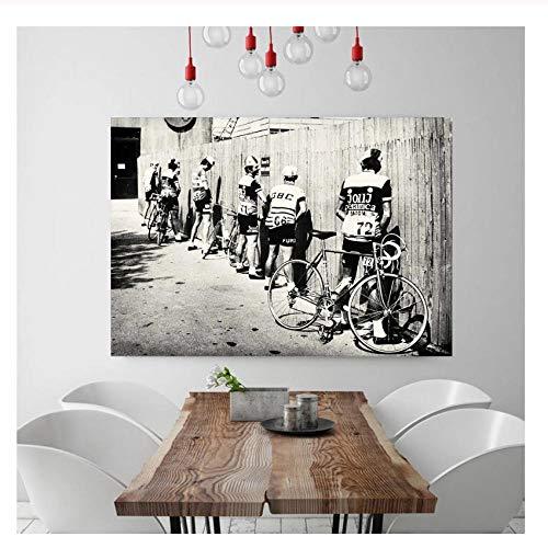 Huizheng Bicicleta Ciclista Imprimir Bicicleta Vintage Photo Poster Regalo para Decoración de baño Hombres Orinando Ciclismo de Carretera Wall Art-60X70Cm / Sin Marco