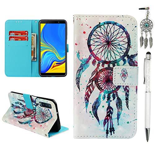 Vogu'SaNa A7 Handyhülle Kompatible mit Samsung Galaxy A7 2018 Hülle Case 3D Muster Leder Tasche Flipcase Cover Schutzhülle Handytasche Skin Ständer Schale Bumper Magnet-Traumfänger 2