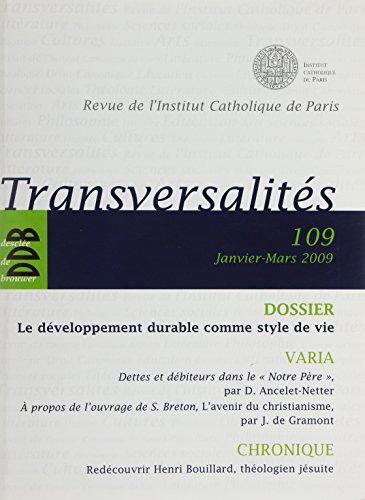 Revue Transversalites N 109 par Institut Catho