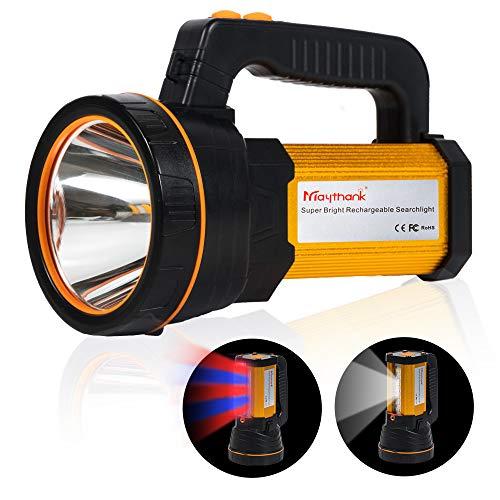 Extrem hell Wiederaufladbarer LED Taschenlampe Scheinwerfer USB Aufladbar Suchlicht Hochleistungs Lumen Draußen Suchscheinwerfer Hand CREE Groß Batterie 10000Mah, seitliche Flutlichtlampe Camping