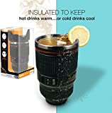 Twitfish - New 2014 Camera Lens Mug With Stainless Steel Thermos Lining and Sealable Biscuit Tray Cap (Black)