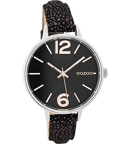 Oozoo Damenuhr mit Lederband 38 MM Schwarz/Schwarz C9484