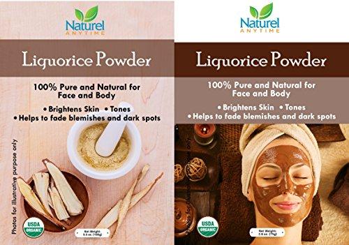 Naturel Anytime liquirizia Powder 75GM–Spedizione gratuita -100% puro e naturale per viso e corpo–aiuta a ridurre punti neri, imperfezioni e iper pigmentazione. Eccellente detergente, ammorbidente e esfoliante per la pelle. Aiuta a illuminare e tonificare la pelle. Consegna gratuita–Two Face Pack ricetta sono fornite con il prodotto. Confezionato in un sacchetto richiudibile per mantenere freschezza. USDA Certified Organic, Halal e kosher Certified