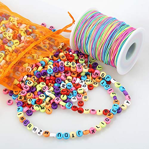 ZesNice 1200 Stück Buchstabenperle, Bunt Rund Buchstaben Perlen zum Auffädeln mit 100 m Elastisch Regenbogen Schnur, Bastelset Kinder Mädchen für Armband Haarband Schmuck Basteln -
