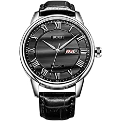 BUREI Luxury Day and Date Design Mens Watches with Black Leather Strap and Black Dial