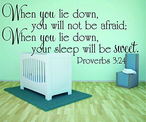 """Design with Vinyl RAD 982 2 When You Lie Down, You Will Not Be Afraid; When You Lie Down, Your Sleep Will Be Sweet. Proverbs 3;24 Bible Quote KJV Baby Boy Girl Wall Decal, Black, 16 x 24"""""""
