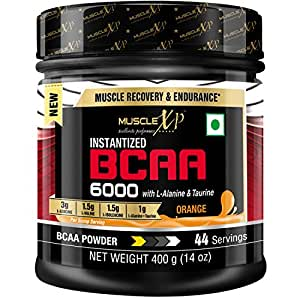 MuscleXP Instantized BCAA 6000 with L-Alanine & Taurine - 400g (14 Oz) Orange - 44 Servings