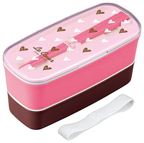 Khul deux étapes boîte à lunch rose avec des baguettes 654777