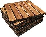 18x Dalles à emboîter en bois d'acacia pour terrasse. Patio, Jardin, balcon, jacuzzi. 30cm carré Deck pour carrelage