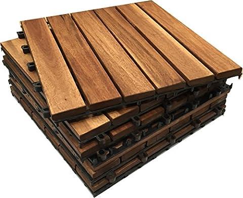 Lot de 18 dalles en bois d'acacia à emboîter pour