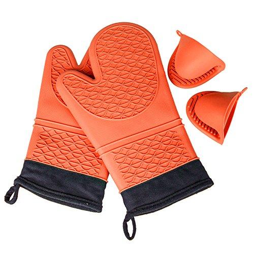 KEDSUM resistente al calore guanti da forno in silicone con impugnatura antiscivolo (1 coppia), Includi (Mitt Set)