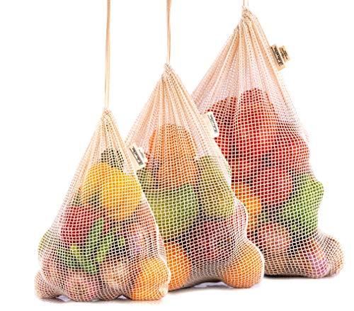 Sacs en Coton Biologique - Sacs de Légumes Réutilisables - Produire des Sacs - Sacs de Marché des Agriculteur - Sacs en Tissu Bio - Sacs en Coton pour Légumes Ensemble de 3 (1X Grand, 1Grand, 1Moyen)