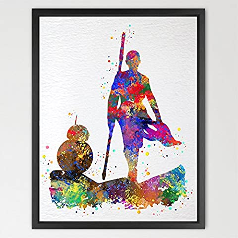 Dignovel Studios A4 Rey & BB8 Star Wars The Force Awakens Print Watercolor Nursery Décor Wall Art Print Darth Vader For Kids Wall Hanging N423