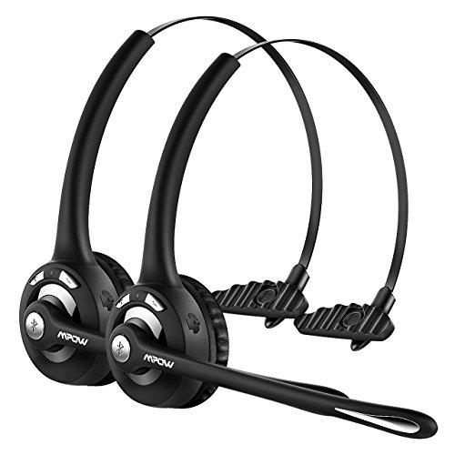 Mpow 2 Stück Professionelle Bluetooth Headset, PC Chat headset für Autofahren und LKW-Fahrer, Wireless Over-the-Head kopfhörer mit mikrofon für VoIP, Skype, Handys und anderen Bluetooth-Geräten Headset Für Fahrer