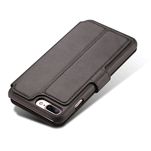 iPhone Case Hülle Kunst Leder Brieftasche mit Kartenfächer iPhone 6/6S/7/6 Plus/6S Plus/7 Plus 4,7/ 5,5 Zoll Geldscheinfach Premium Börse Tasche Handy Schutzhülle,6 Farben Schwarz