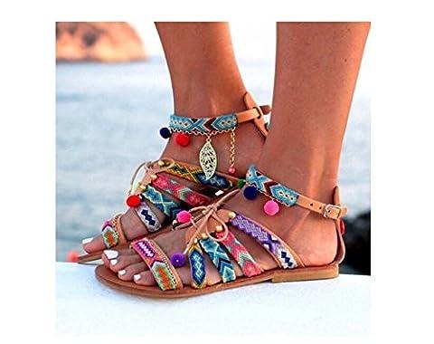 Große flache Schuhe Frauen Bohemia Peep Toe Ball Folk-benutzerdefinierte flache