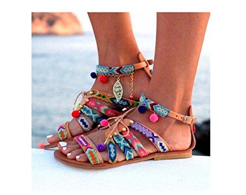 Große flache Schuhe Frauen Bohemia Peep Toe Ball Folk-benutzerdefinierte flache Sandalen ( Color : Multi-colored , Size : 38 ) (Rugby-ball Benutzerdefinierte)