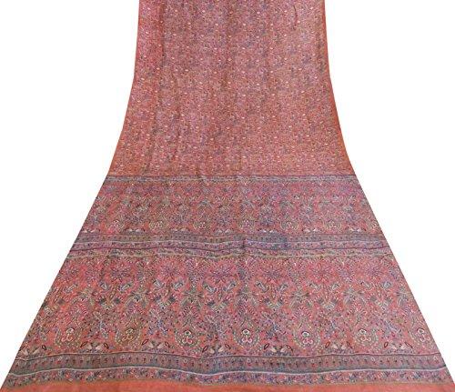Indian Vintage-Sari reine Seide Rosa Saree mit Blumenmuster Ethnische Craft Fabric 5YD (Seide Rosa Sari)