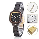 Holz Uhren für Damen, Japanisches Miyota handgemachte leichte Quarz Holz Armbanduhr, verstellbare Armband Band natürliche holz armbanduhr (Schwarze Sandelholz)