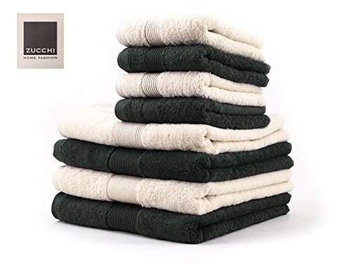 Zucchi set asciugamano 8 pezzi home fashion var. asfalto e beige + tavoletta profumo biancheria per armadi by biancocasa