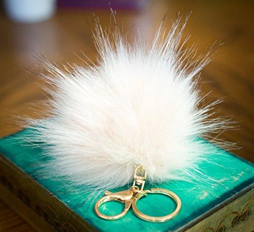 3 für 2! 12cm White Weiss großer, flauschiger Fell-Puschel im Waschbär-Look, mit goldenem Schlüsselanhänger, (Tote Gucci Large)