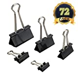 Clip Doppio - MAIKEHIGH 72 Pezzi FoldBack Binder Clips Carta per metallo Binder Clamps per Note Letter Paper Clip Office Supplies, 5 formati assortiti, Nero