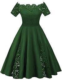 aa9e9b5870e YTJH Mujer Vestido de Fiesta Corto Vestidos de Encaje Floral Elegante  Vintage Falda Bodas Cóctel Talla