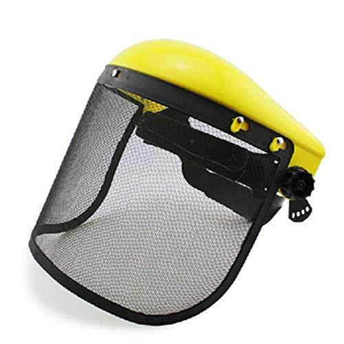 Schutzmaske für Rasenmäher, stoßfest, gelbe Spitze, Drahtgitter-Maske aus Netzgewebe, Sicherheitsvisier, Kettensäge, Schutzhelm, industrielle Klare Sicherheit Gesichtsschutz und breites Visier