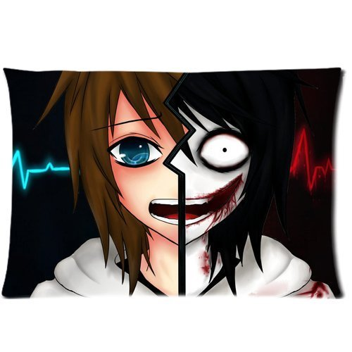 Jeff The Killer Creepypasta Custom Zippered Pillow Case Cover 20x30 Inch (Two sides)