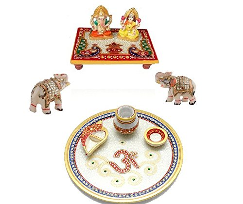 Combo of Ganesh ji Laxmi Ji Idol on Chowki with Decorative Hathi 2inch size or Elephant Set and Beautiful Handcrafted Deepak with Pooja Thali 8 ich size with Om Design and other Pooja Item for Aarti used in Home Temple and Office Decor,Home Decor,Gift for