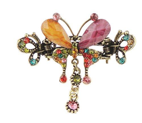 Damen braunen Gold Tone Metall mit Kristall klein 6cm Haar Haarkralle Schmetterling