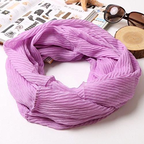 CWJ Druck-Krepp-Normallack-weiblicher Schal verdünnen Sie die Vier Jahreszeiten des Frühlinges und der Herbst-Baumwolldekorativen und vielseitigen Schal,Maya Lila