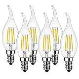 LVWIT LED Kerze Lampe E14, 470 lm, warmweiß 2700K, ersetzt 40 Watt, nicht dimmbar, Classic Kerzenform Filament, klar (6er Pack)