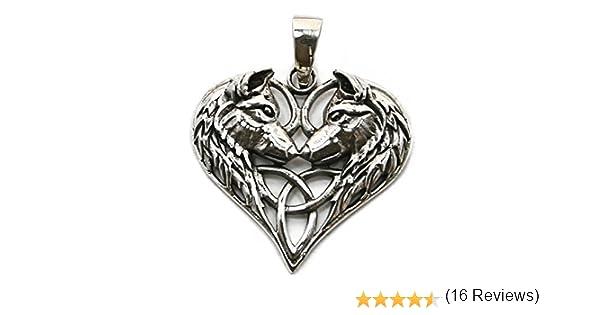 Pendentif en Argent Sterling 925 Triquetra P038 Coeur Loup