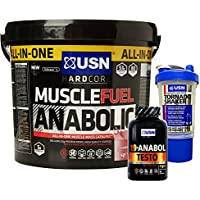 USN Muscle Fuel Anabolic 4 kg, Ultimate All-In-One shake,Supports Muscle Performance,Recovery and Growth,Free USN 19 Anabol Testo (45 Caps), Free USN Shaker, Free USn Tornado Drinks Shaker 650ml ( Vanilla)