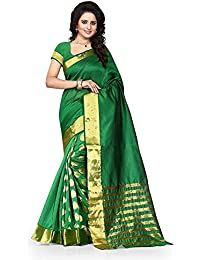 Silverstar Women's Woven Cotton Silk Saree With Gold Border