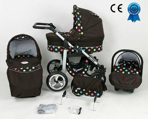 Poussette combinée 3 en 1 avec poussette+nacelle+siège auto+sac à langer+ombrelle offerte