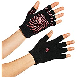 Gaiam Grippy guantes de Yoga, Grippy, negro / rosa