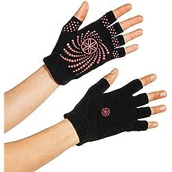 Gaiam Grippy guantes de Yoga, Grippy, negro / rosa