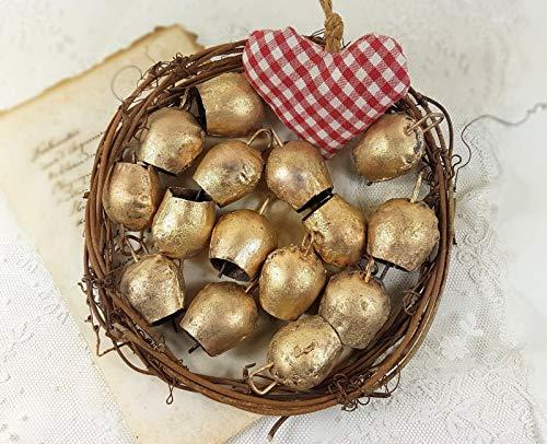 Mango Gifts 100 Stück Kuhglocken im Vintage-Stil mit Metallklöppel 5,1 cm H -