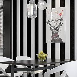 Noir et blanc Rayures papier peint intissé pour salon, chambre à coucher, bureau, magasin Restaurant Décor , non Autocollant Papier peint, 0.53* 10m