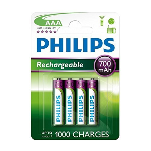 Philips - 4 pilas recargables (AAA, 700 mAh, para BT 1000, 1500, 2000, 2500, 4000 y 4500)