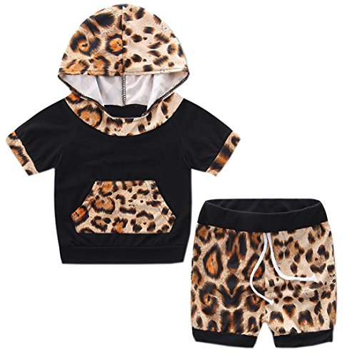 Leoparden-print-hose Im Set (Bekleidung Longra Kleinkind Baby Sommer Kurzarm mit Kapuze Leopard Trainingsanzug Tops T-shirt+ Shorts Hose Outfits einstellen Sommer Babykleidung (0-24Monate) (65CM 6Monate, Brown))