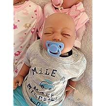 Reborn bebé muñeca Lilian, Heavy, 22cm de largo, cabeza de calva y chupete magnético–Boy–ycn muñecas lboyb